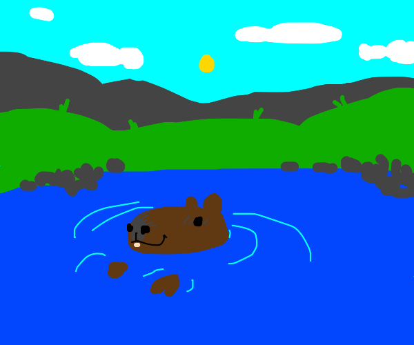 capybara chilling in the water