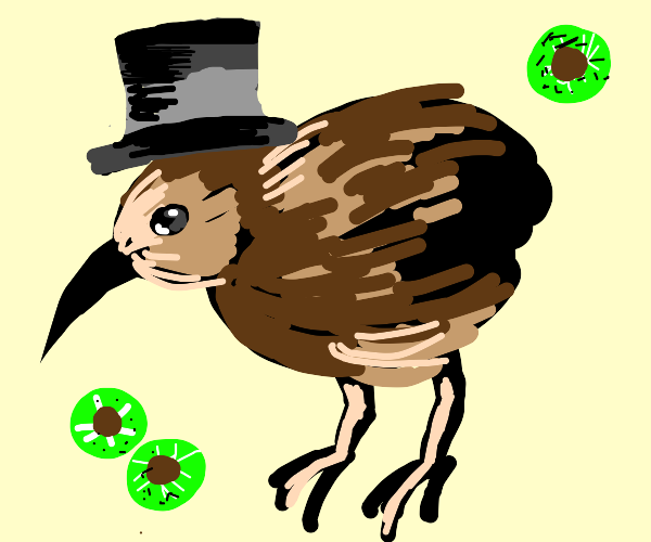 Kiwi bird wearing a top hat