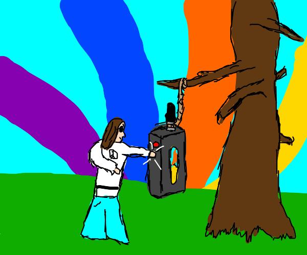 A hippie punching a vape