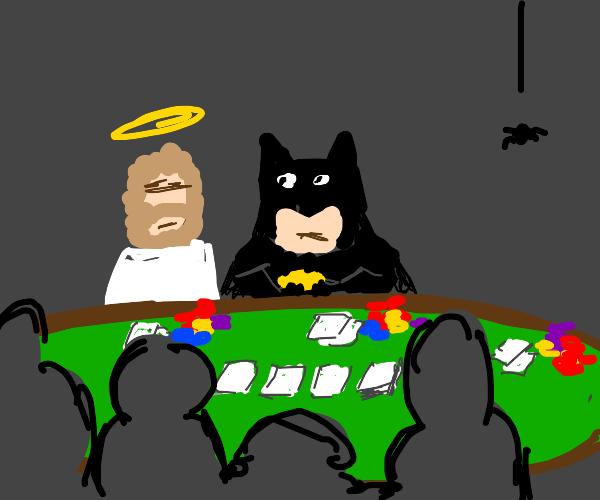 Jesus playing poker with Batman