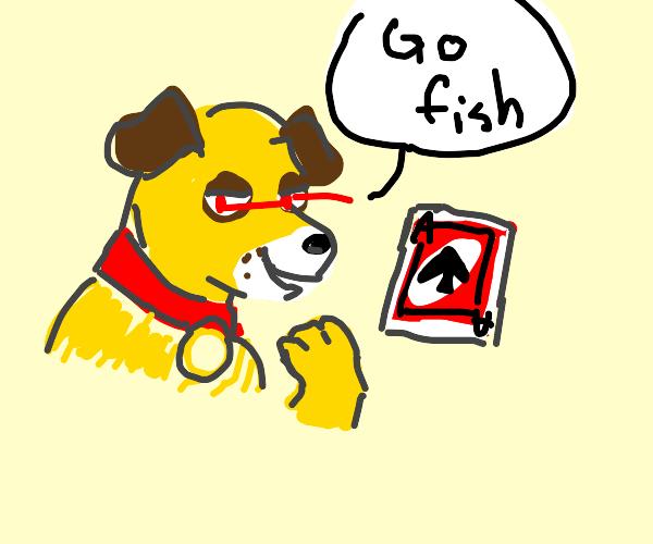 Martha the average dog eating playing cards