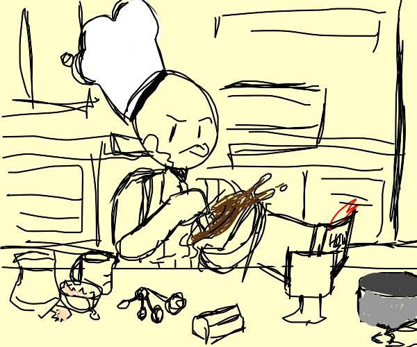 Man preparing cake batter