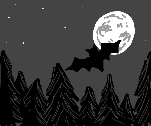 A bat flying through the night sky