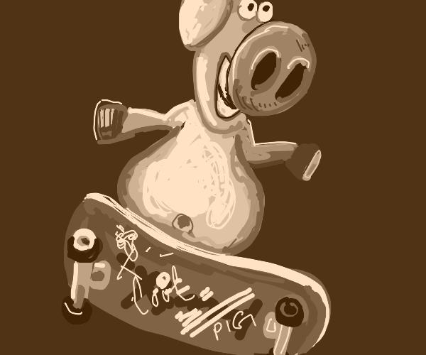 pig rides skateboard while smoking cigarette