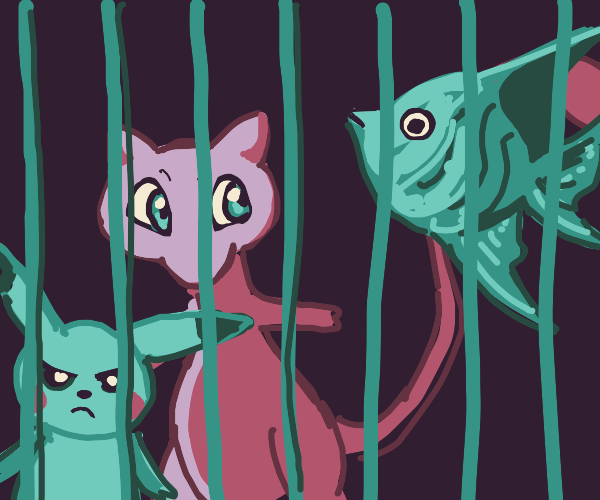 mew, pikachu and angelfish in cage