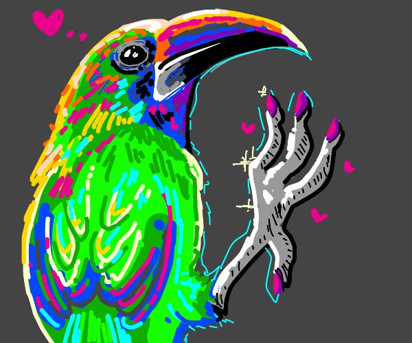 Neon bird creature likes his own feet
