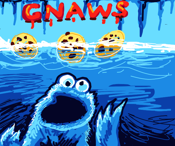 Jaws poster but cookie monster