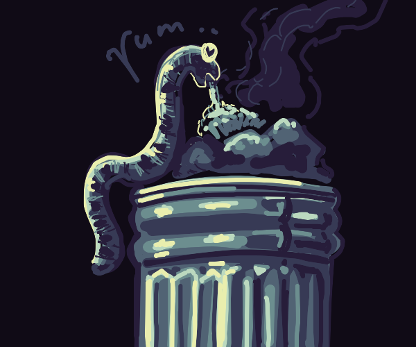 Worm loves eating stinky garbage