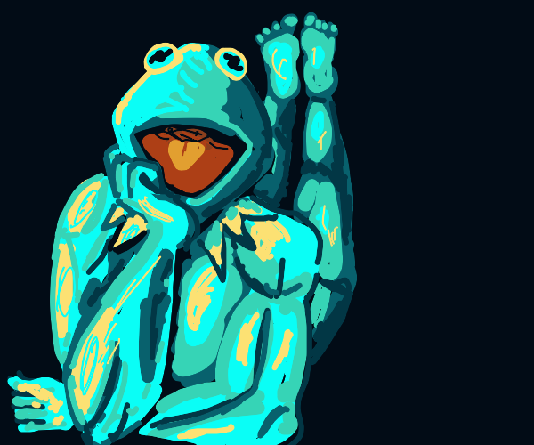Portrait of Kermit; he's buff and hot now.