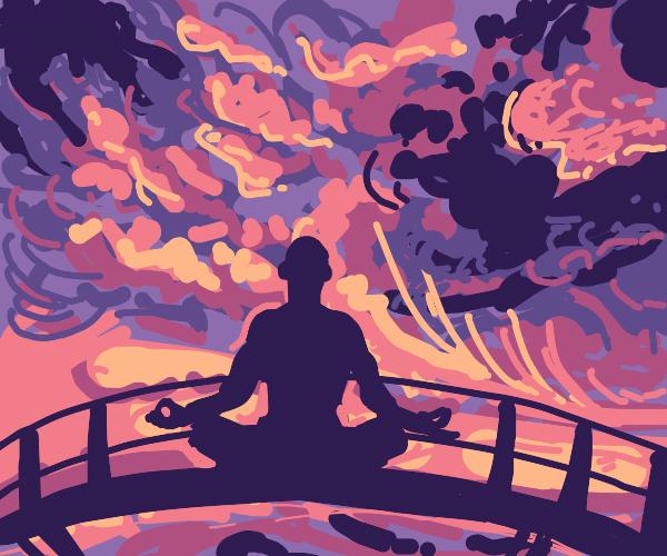 Meditating on a bridge