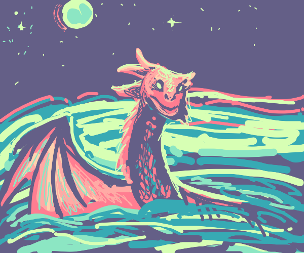 Sea serpent dragon in moonlit ocean