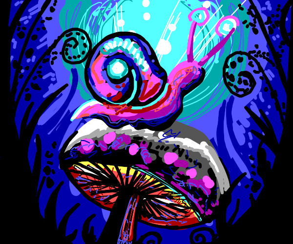 Psychedelic snail on a mushroom