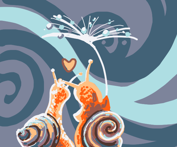 a snail couple celebrating new year's eve