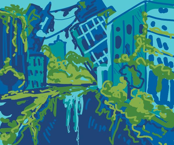 metropolis overrun with plantlife