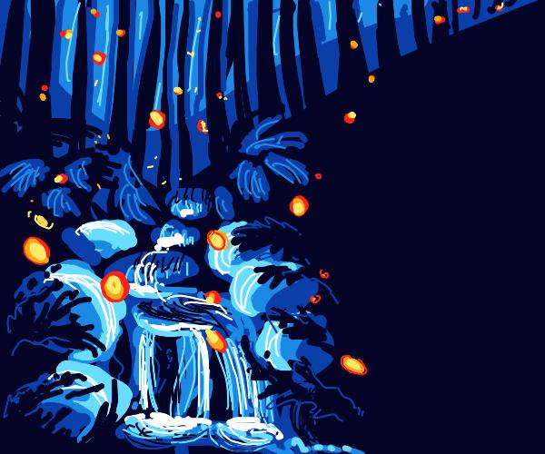 Fireflies in a forrest
