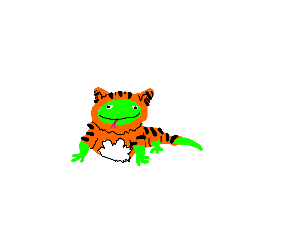 Lizard dressed up as a tiger