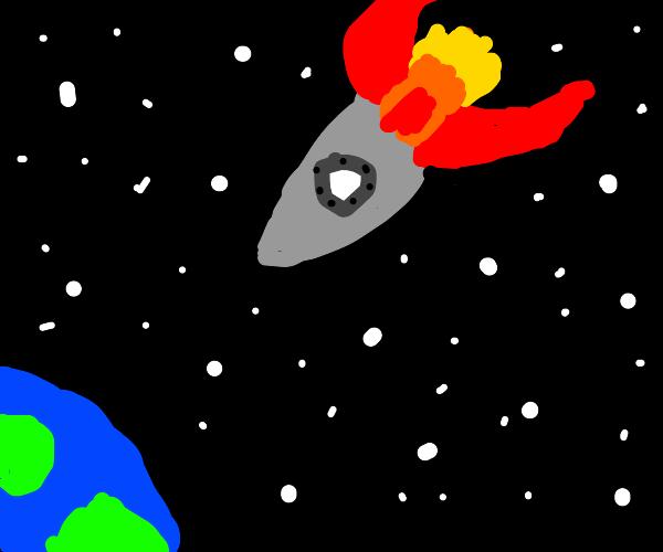 Giant space ship crashing into earth