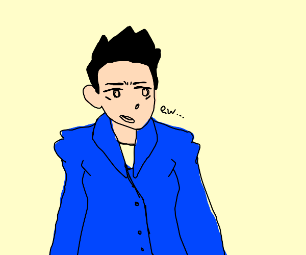 Man in a blue suit in absolute disgust