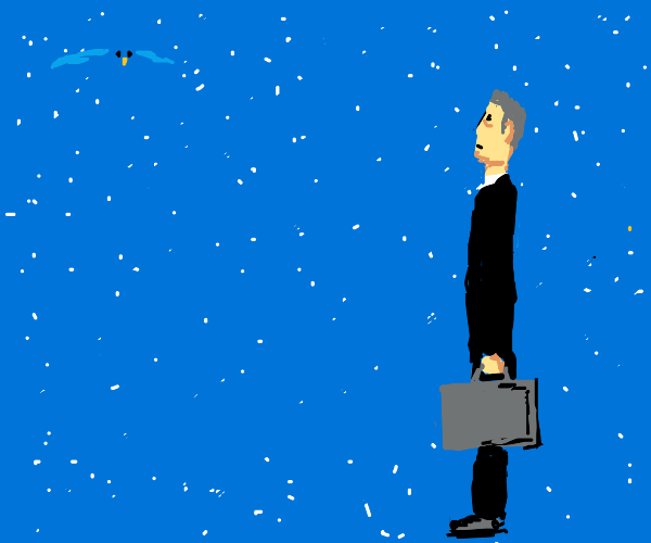 G-Man in a black suit stares at blue bird
