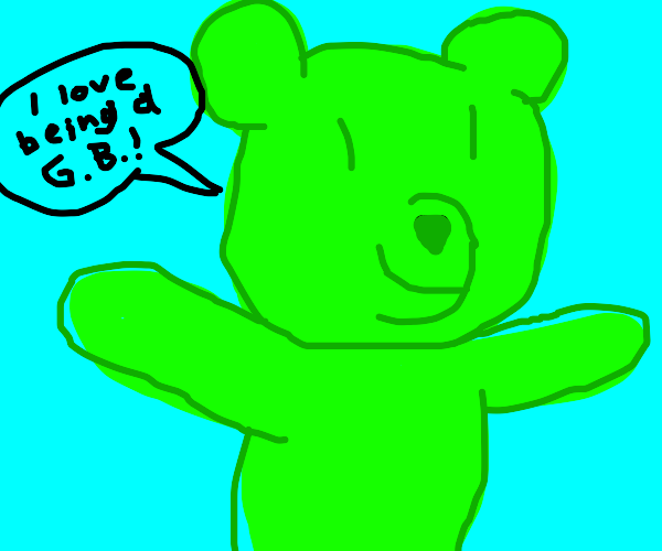 happy green gummy bear !!!!!