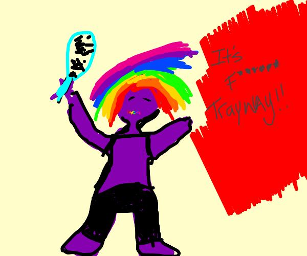6ix9ine but purple brushing rainbow hair