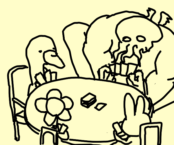 a flower, bunny, goose and octopus play card