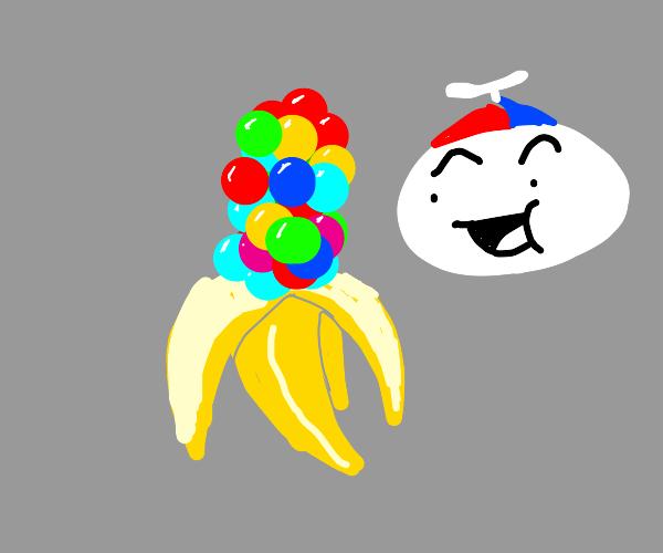Banana with gumballs inside