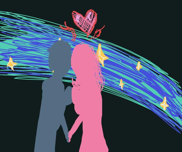 kissing under shooting stars