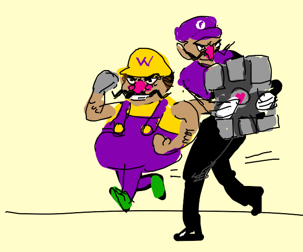 wario and waluigi steal companion cube