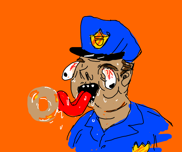 Police officer licking a donut
