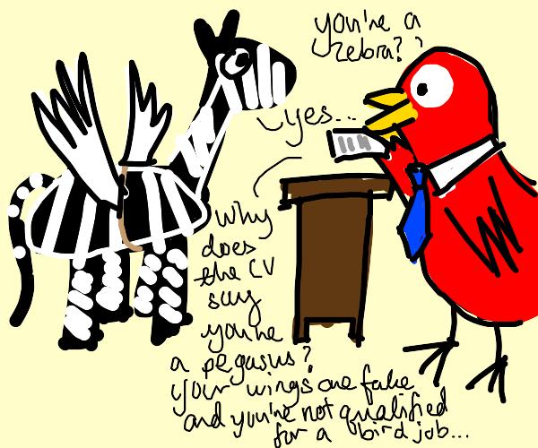 zebra applying for bird job
