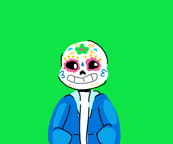day of the dead but sans is a sugar skull