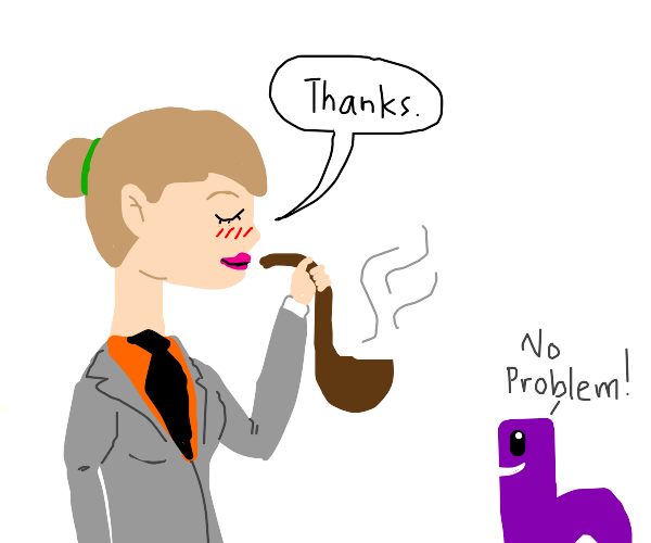 Blushing lady with a tie smokes a pipe from b