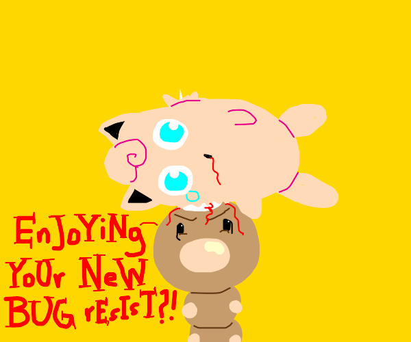 jiggly puff is impaled by weedle