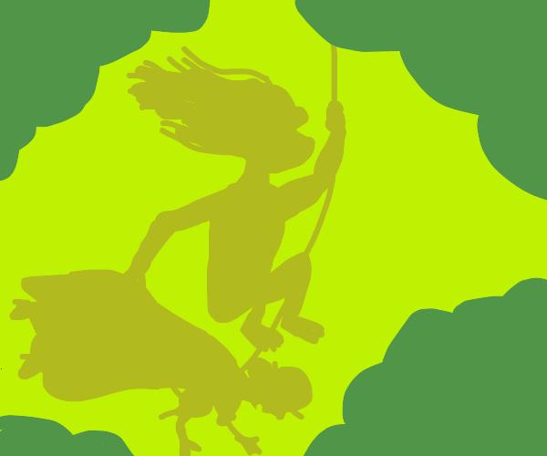 Tarzan vine-swinging holding a lady