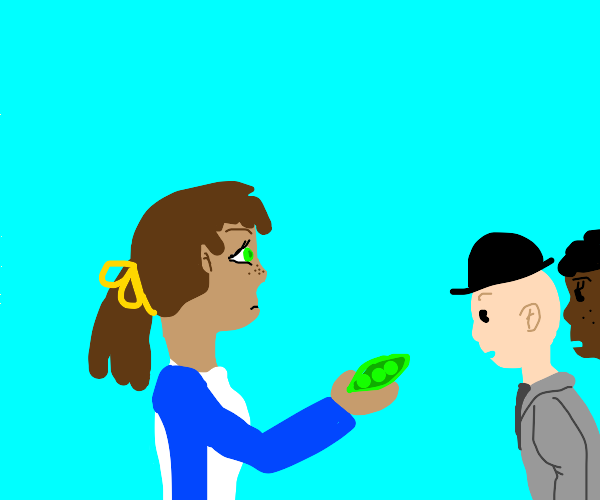 Brunette telling people to look at her peas