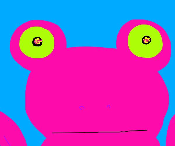 Pink frog has flashback of guns firing