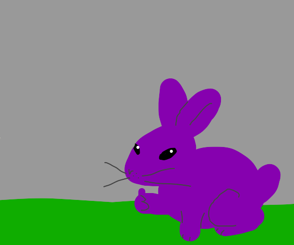 Purple bunny gives a thumbs up
