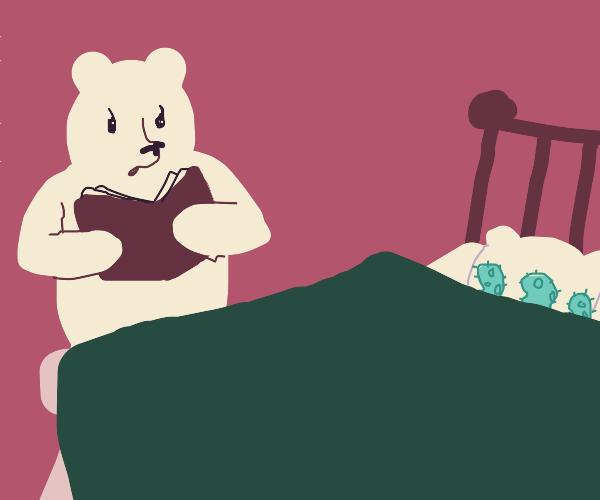 Bear tells a bedtime story to amoebas