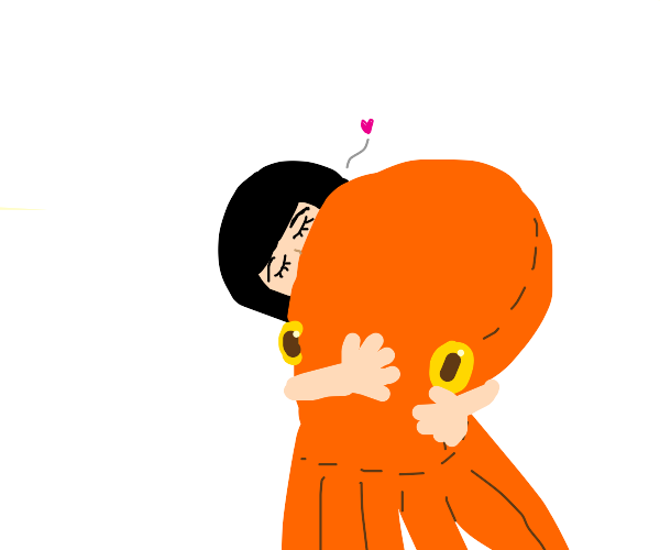 smol girl hugging stuffed octopus