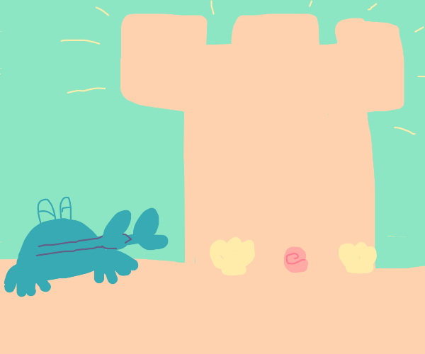 crab is proud of their sandcastle