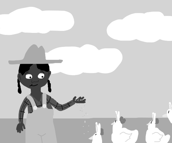 Farmer with some eared chickens