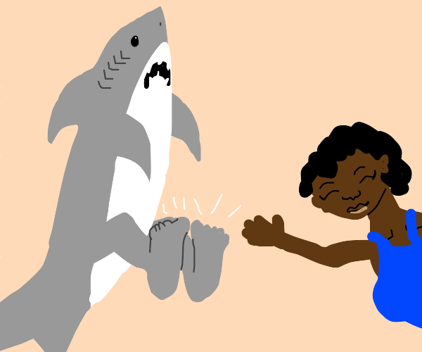 shark shows his feet with a woman