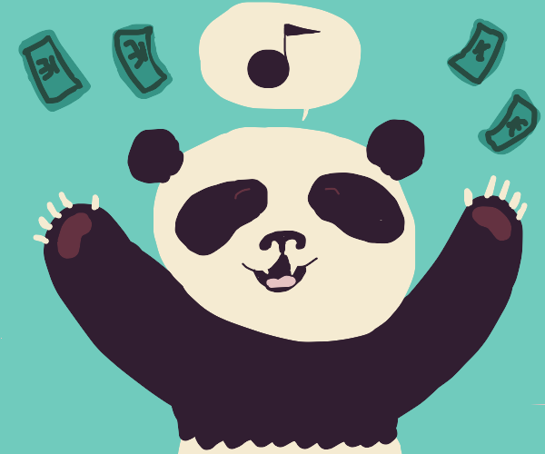 bear sings and throws money around