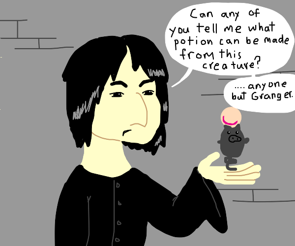 Severus Snape holding a spoink