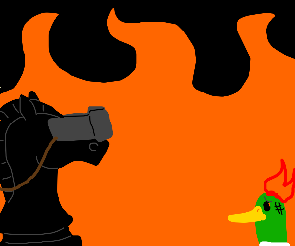 Knight Watching a duck Burn in hell