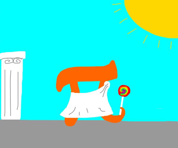 Togapi with a lollipop