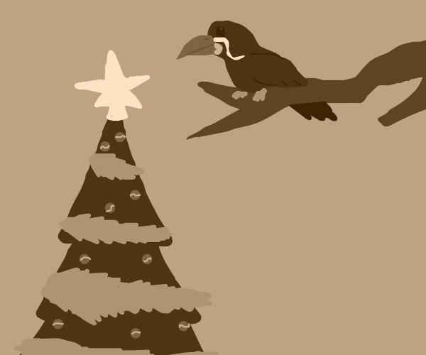 Inca Tern Atop a Bough Above A Christmas Tree