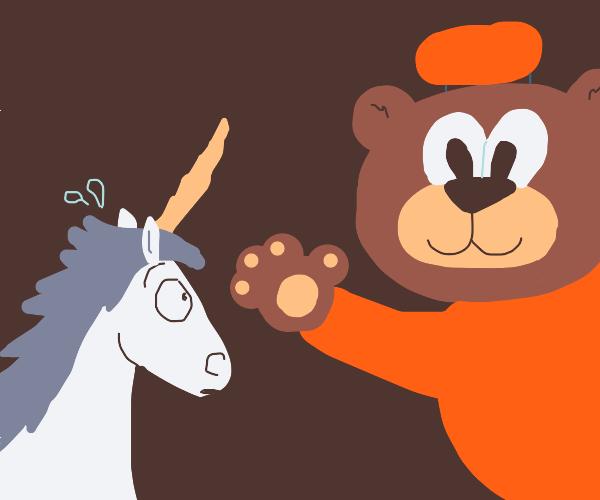 A bear scares a unicorn
