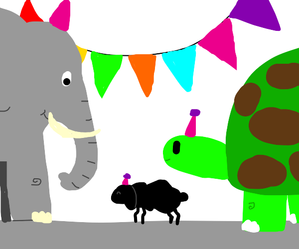 A sheep at party with a bigturtle an elephant